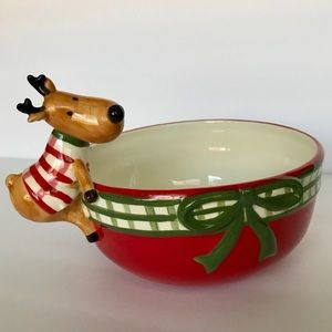 HARRY & DAVID Reindeer Ceramic Candy Dish Bowl